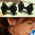 Special Korean version of sweet and cute black bow section fake  earrings jewelry wholesale women  free shipping
