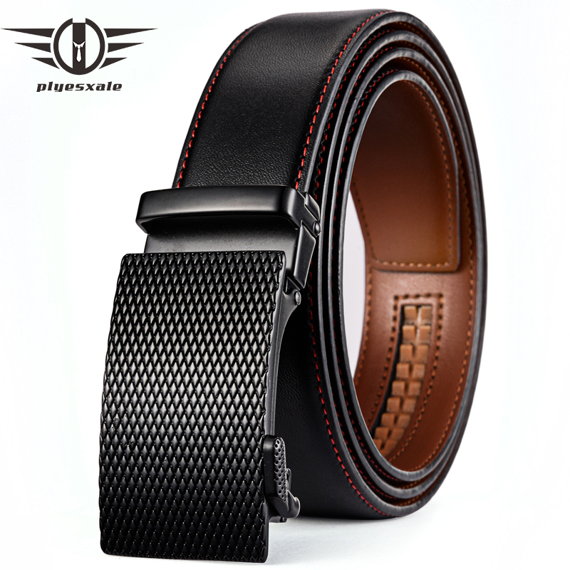 Plyesxale Famous Brand Belt Men 2018 Cowhide Genuine Leather Automatic Buckle Belts Black Business Formal Belt Dropshipping G70