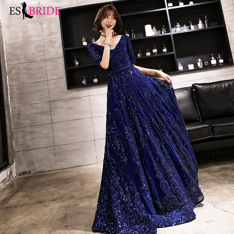 Royal Blue Evening Gowns For Women Formal Birthday Party Elegant Evening Dress Sexy V-neck A-line Long Abendkleider 2019 ES2593
