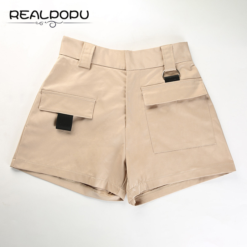 Waatfaak Khaki Pocket High Waist Shorts Feminino Summer Fashion Slim Wait Zipper Loose Casual England Style Vitage Shorts