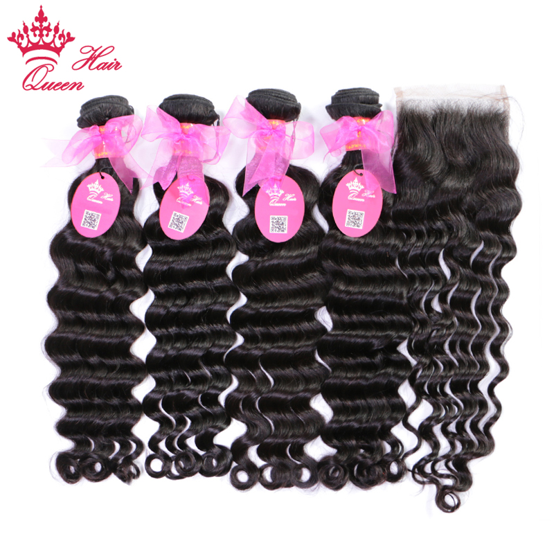 Queen Hair Products Brazilian Natural Wave Human Hair Bundles With Lace Closure 4 Bundles With Closure Remy Hair Extensions