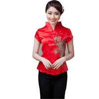Hot Sale Red Summer Satin Chinese Style Women Tang Suit Tops Blouse Vintage Traditional Chinese Shirt M L XL XXL XXXL T22