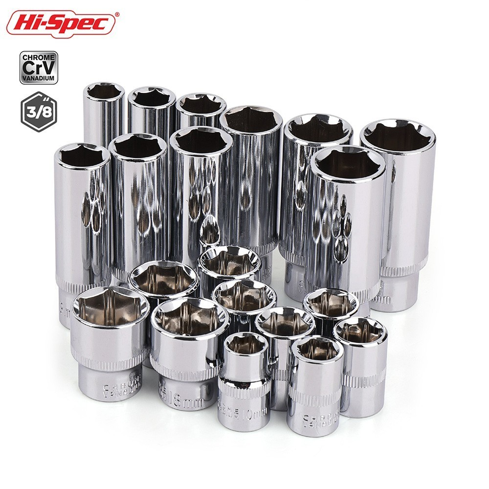Hi-Spec 10pc 3/8 Inch Short Long Socket Set CRV 10-19mm Deep Socket Adapter For Torque Ratchet Socket Wrench Spanner Repair Tool