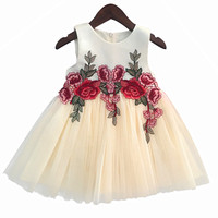 Embroidery Lace Flower Girl Dresses Appliques Kids Prom Wedding Dress Ball Gown Pearls Girl Pageant Dress