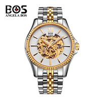 Reloj Hombre ANGELA BOS Gold Silver Mechanical Watch Man Waterproof Sapphire Skeleton Business Wrist Watch Relogio Masculino