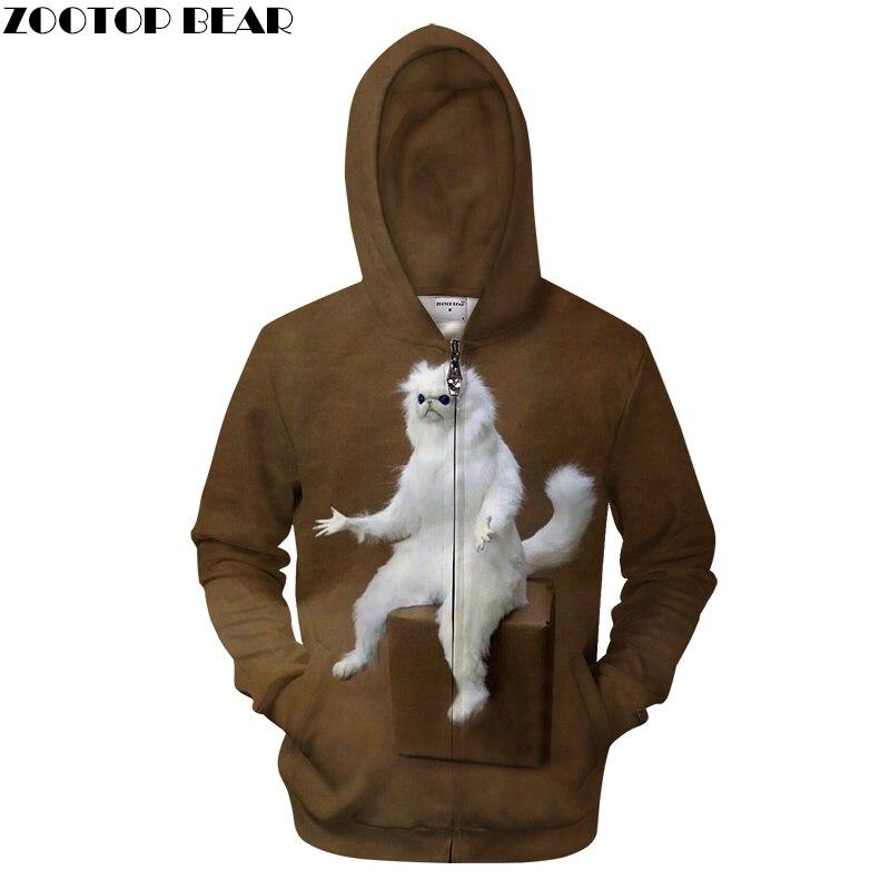 White Funny Animal Mens Zip Hoodies 3D Printing Hoody