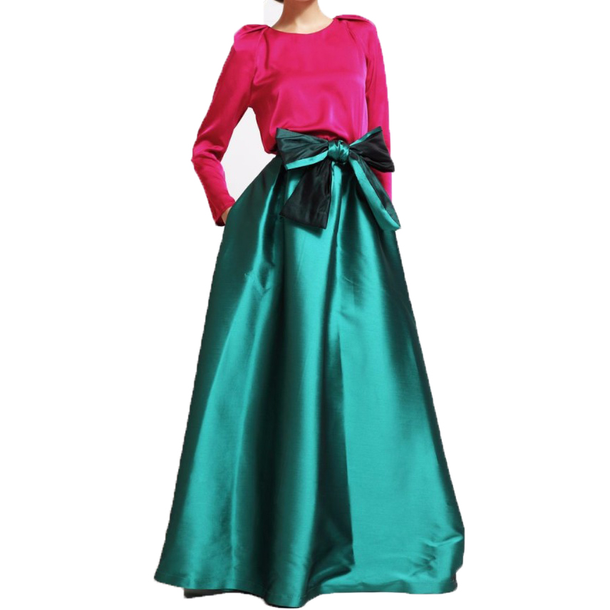 Vintage Emerald Satin Puffy Floor Length Skirts 2017 With Pockets Long Dark Green Maxi Skirt For Lady Custom Made Big Bow Sash