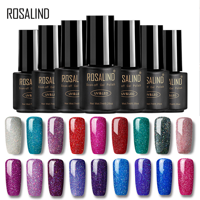 ROSALIND Nails Gel Polish Lucky Hybrid Varnish Set rainbow 7ML Semi Permanent Primer Base for Nail Art Poly UV Gel Nail Polish