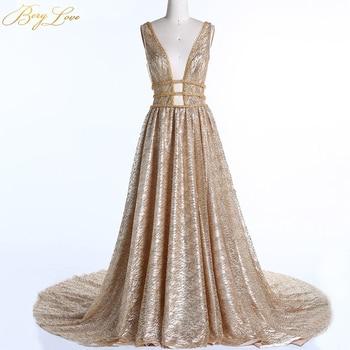 BeryLove Gold Sequins Evening Dresses 2020 Golden Deep V Neck Backless Evening Gowns Women's Formal Reflective Dress Party Gowns