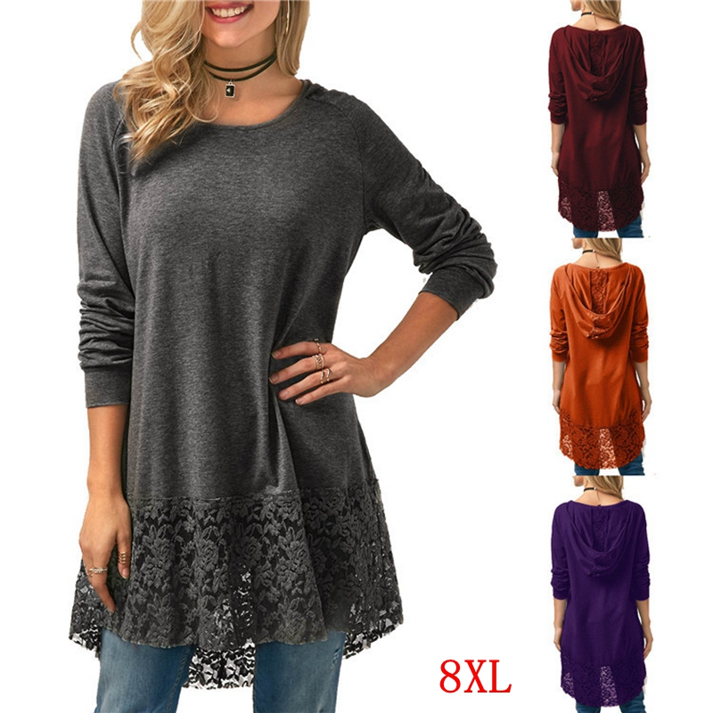 Large Size Women's T-shirt Lace Stitching Plus Size 5XL 6XL 7XL 8XL Summer Women's Casual Long-sleeved Loose Gray Hooded Top