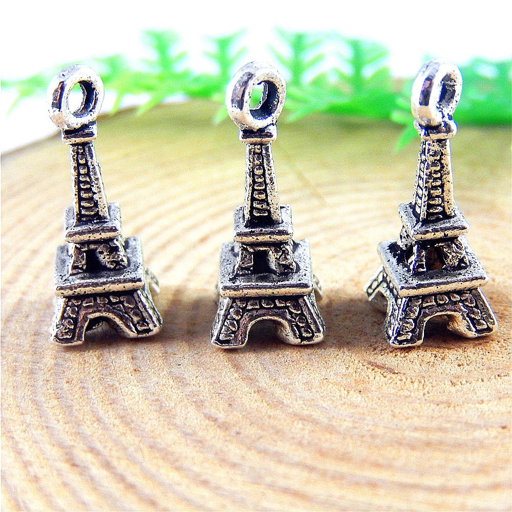 30pcs lot Antique Silver Eiffel Tower Shape Necklace Pendant 17 7 7mm font b Jewelry b
