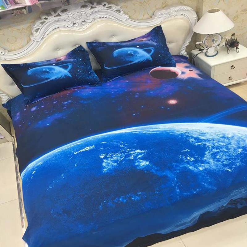 Hot 3d Galaxy bedding sets Twin/Queen Size Universe Outer Space Themed Bedspread 2/3/4pcs Bed Linen Bed Sheets Duvet Cover Set 43