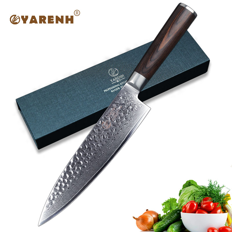 YARENH 8 inch chef knife Damascus steel Japanese professional slicing knife with brown wood handle best