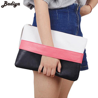 New Arrival Women Handbag Solid Patchwork Lady Day Clutches Popular Stitching Soft Girl Zipper Packet Fashion