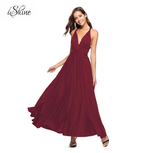 0ce724cf20 US $13.33 32% OFF|Sexy Women Multiway Wrap Convertible Boho Maxi Club Red  Dress Bandage Long Dress Party Bridesmaids Infinity Robe Longue Femme-in ...