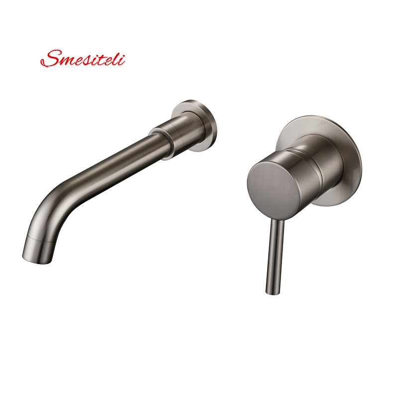 Smesiteli Promotions Wall Mounted Brushed Nickel 360 Degree Rotation Spout One Handle Bathroom Diverter Sink Faucet Mixer Taps