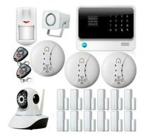 Envío libre de DHL WIFI sistema de alarma GSM con GPRS, teclado Táctil Sistema de Alarma Hogar seguro APP controlado con cámara IP, la puerta Estrecha Recordatorio