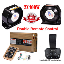 LARATH Police Siren 400W warning Alarm 8 Sound Double Wireless Remote Control Car Motorcycle horn PA Speaker MIC System 12V