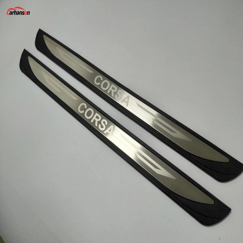 For Auto Accessories Opel Vauxhall Corsa MK IV 2014 2015 2016 2017 2019 Stainless Door Sill Scuff Plate Car Styling Sticker 2pcs
