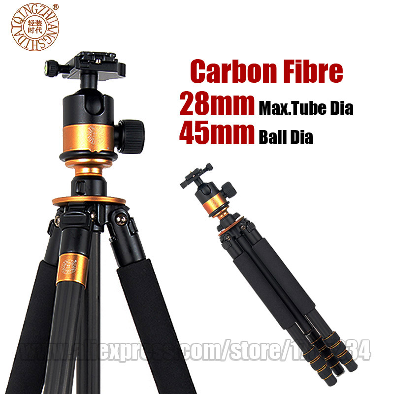 QZSD Q1000c Professional Carbon Fiber Tripod With 45mm Ball Head Stable Portable Photo Tripod Stand For DSLR SLR Video Camera benro c38tds2 carbon fiber tripod kit bird watching monopod kit professional video camera slr tripod stable support for canon