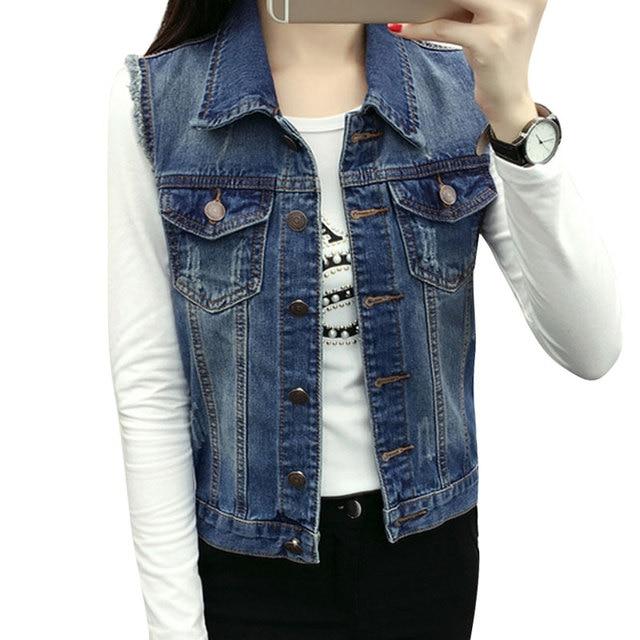 Vintage Womens Denim Vest Casual Slim Fit Áo Khoác Không Tay Jeans Lỗ Nhãn Hiệu Áo Ghi Lê Người Phụ Nữ Quần Áo Mùa Xuân Cardigan Tops