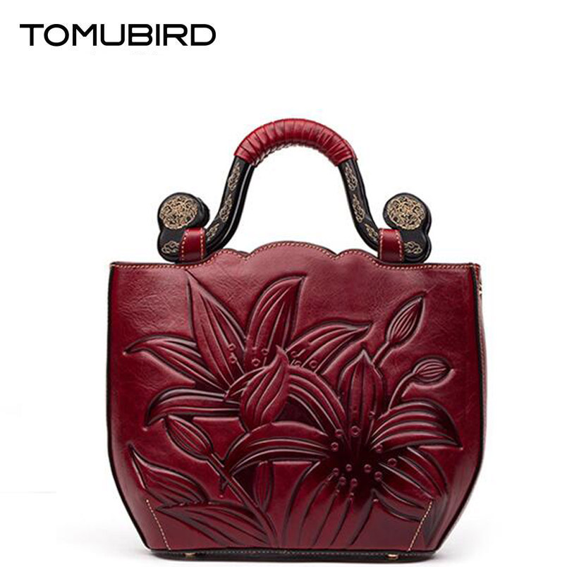 TOMUBIRD 2016 new quality cowhide material  famous brand women bag fashion embossing women genuine leather handbags shoulder bag