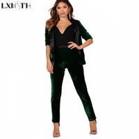 LXMSTH Womens Two Piece Sets 2017 Winter Long Sleeve Velvet Blazer Women Pants Work Suits Fashion