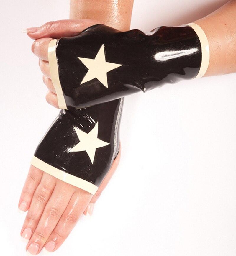 Moufle en caoutchouc latex Sexy avec accessoires étoiles blanches gants gummi 0.4mm personnaliser le service