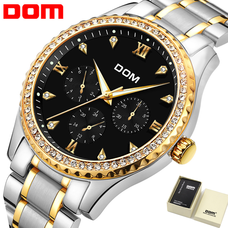 Mens Watches Top Brand Luxury Stainless Steel Waterproof Watch For Man Gold Diamond Quartz Watch 2018 Relogio masculino 2M-39 luxury mens gold diamond stainless steel watches quartz calendar 30m waterproof man clocks luminous top brand original watch