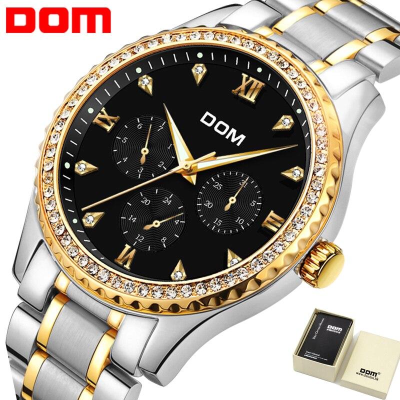 Mens Watches Top Brand Luxury Stainless Steel Waterproof Watch For Man Gold Diamond Quartz Watch 2018 Relogio masculino 2M-39