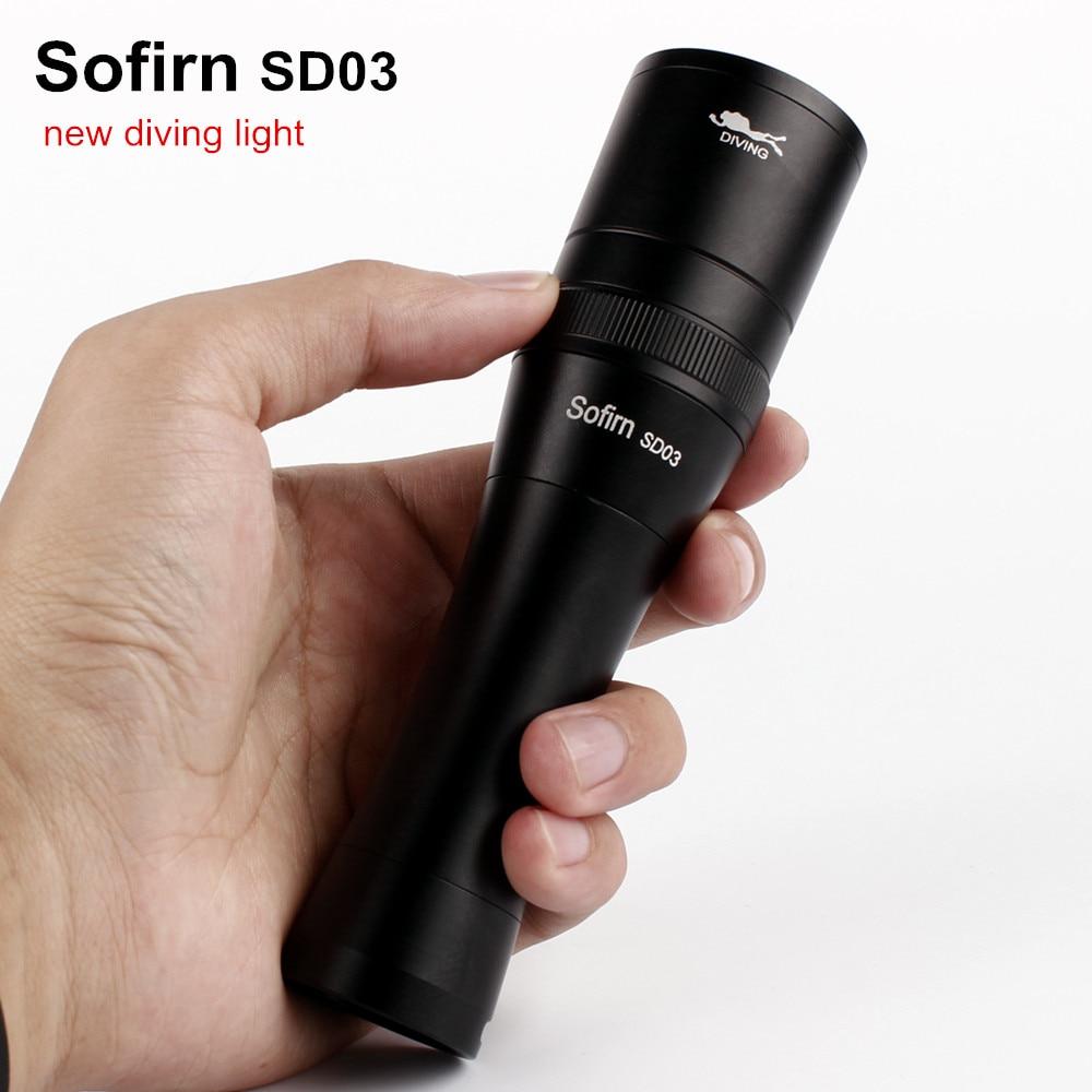 Sofirn SD03 Scuba Diving Flashlight 18650 Dive Light Torch Underwater Powerful Cree XM-L2 LED Flashlight Waterproof Diving Lamp