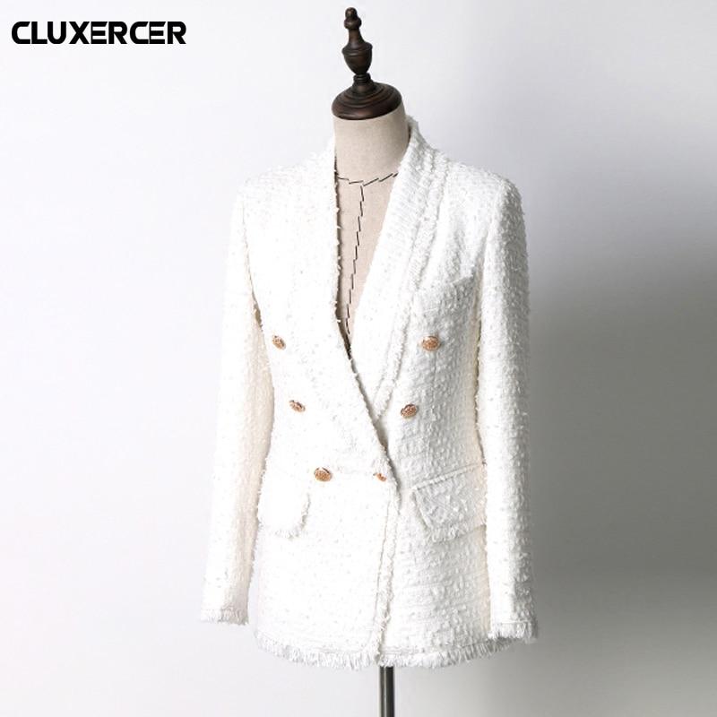 Suits & Sets 2018 Spring Autumn White Tweed Weave Woolen Blazer Feminino Women Office Lady Blazer Double Breasted Jacket Blaser Feminino