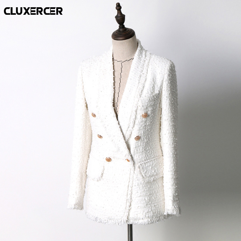 2018 Spring autumn White Tweed Weave Woolen Blazer Feminino Women Office Lady Blazer Double Breasted Jacket Blaser Feminino