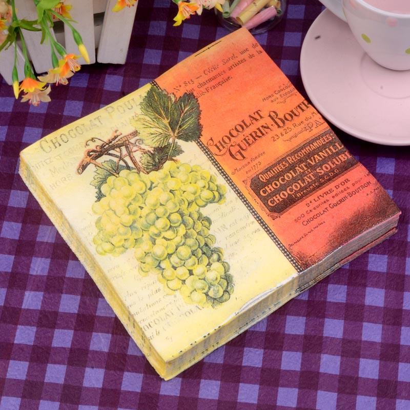 33*33cm 20 PCS/Pack Vintage grape Napkin Party 100% Virgin Wood Paper Napkin for party dinner decoration