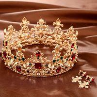 Barokowy Retro Luksusowe Perły Kryształ Gold Crown Biżuteria Ślubna Dla Nowożeńców Rhinestone Tiary Korony Korowód Suknia Włosów Akcesoria