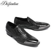 7a6898865 Formal do Negócio Vestido Preto Sapatos Calzado Hombre Flats Oxfords Dedo  Do Pé Quadrado Sapatos de Escritório dos homens Slip-O..