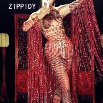 Cristales rojos brillantes mono con borla larga Mujer cantante Rhinestone puesta en escena Ropa de baile de graduación DS Sexy ropa flaca