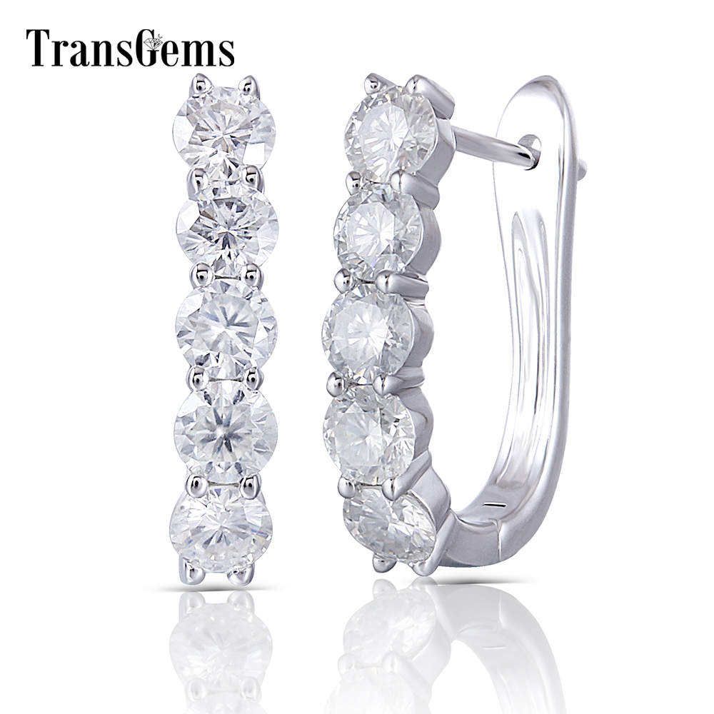 Transgems Sterling Silver Hoop Earrings 3.5MM GH Color Clear Moissanite Huggie Earrings U Shaped Platinum Plated Silver Earrings geometric shaped silver plated blue diamond earrings