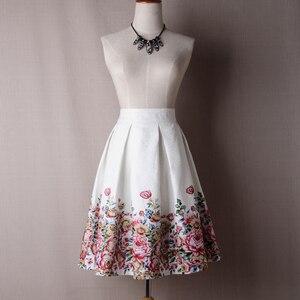 Image 3 - Neophil 2020 Ladies  Jacquard Flower Print Pleated Ball Gown Skater Midi Skirts Womens Vintage Floral High Waist Saias S1532