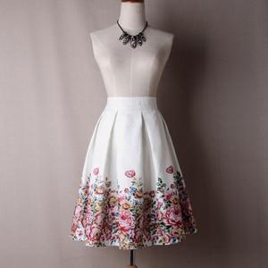 Image 3 - Neophil 2020 גבירותיי אקארד פרח הדפסת קפלים כדור שמלת סקטים Midi חצאיות נשים Vintage פרחוני גבוה מותן Saias S1532