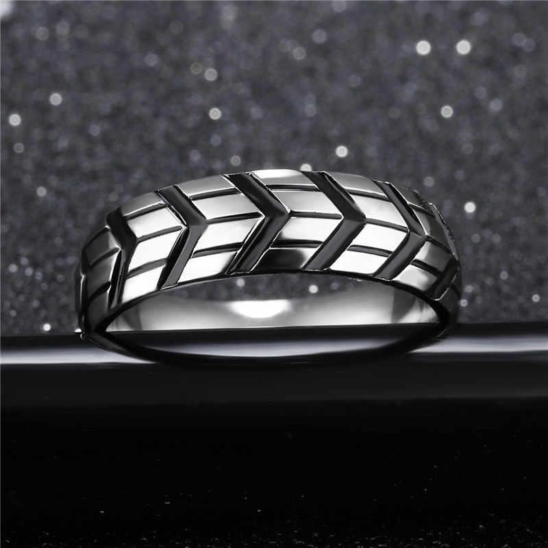 Modyle 2019 nueva moda neumático estilo de banda estriada anillo joyas estilo rock para hombre Punk Vintage Acero inoxidable joyería de fiesta