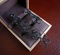 Women rings , AAA cubic zirconia novel Nano black rose flower double finger knuckle ring, R1085B