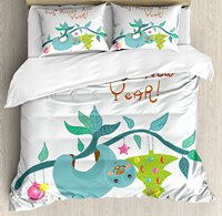 Duvet Cover Set, Childish Doodle of Funny Mammal and Christmas Tree with Comic Phrase Artwork, 4 Piece Bedding Set