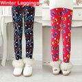 2016 Winter New kids Pants Girls Leggings Children warm Pants plus Velvet Thick velvet leggings large printing Trousees