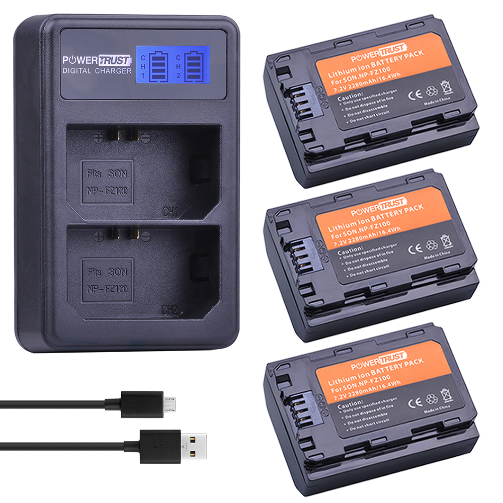 3x 2280mAh NP-FZ100 NPFZ100 NP FZ100 Battery + LCD Dual USB Charger for Sony BC-QZ1 Alpha 9 9R A9R 9S ILCE-9 A7R A7 III ILCE-7M3