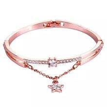 CUTEECO 2019 New Rose Gold Luxury Female Bangle & Bracelet Pentagram Forever Love Zircon Bracelets Charm For Women Jewelry