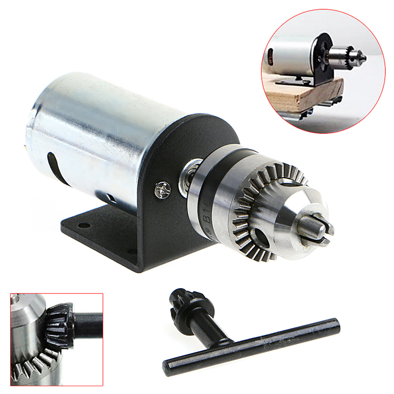 New Hand Drill DIY Lathe Press 555 Motor With 1/8 Chuck+ Mounting Bracket 12-36V 76zy01 mig wire feeder motor dc24 1 8 18m min 0 8 1 0mm roll without bracket