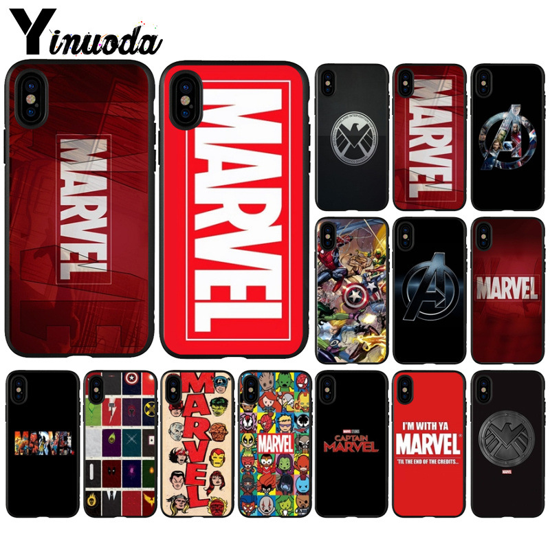Yinuoda Marvel Comics logo  DIY Printing Drawing Phone Case cover Shell for Apple iPhone 8 7 6 6S Plus X XS MAX 5 5S SE XR Cover iphone xr case magnetic