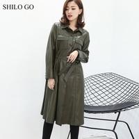 SHILO GO Leather Trench Womens Spring Fashion sheepskin genuine leather long coat lapel collar single breasted belt straight coa