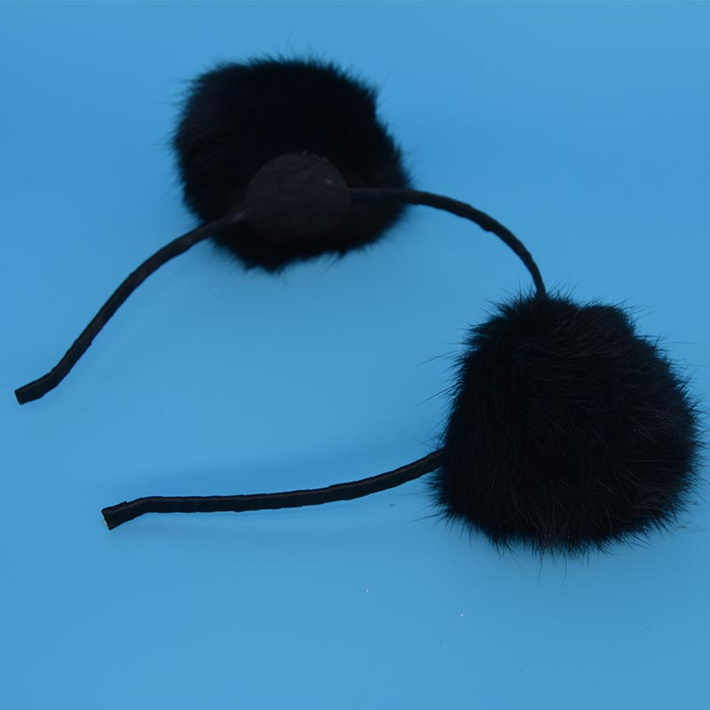 2018 Black Cheer Leader Furry Ball Headband Soft Fluffy PomPom Ball Hair Band For Women Girls Wedding Party Hair Accessories